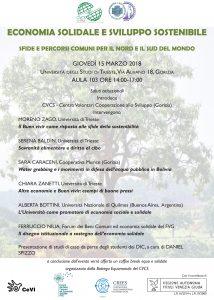 Economia Solidale e Sviluppo Sostenibile @ Aula 103, Università degli Studi Trieste | Gorizia | Friuli-Venezia Giulia | Italia