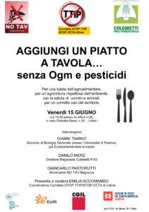 Aggiungi un piatto a tavola... Senza OGM e pesticidi @ Sala CGIL | Udine | Friuli-Venezia Giulia | Italia