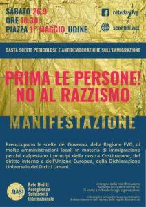 Prima le Persone - Manifestazione Regionale Antirazzista @ Piazza I Maggio